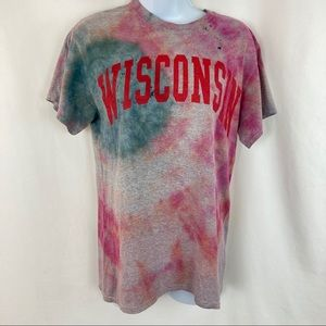 Black Hole Sun Wisconsin Distressed Tie Dye Tee